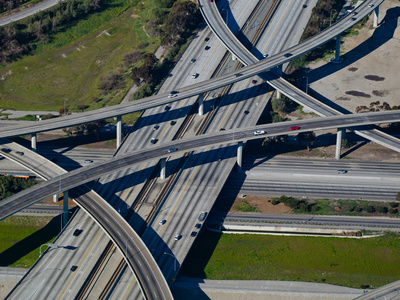 Aerial View of 605 and 105 Freeway, Los Angeles, California, USA Photographic Print