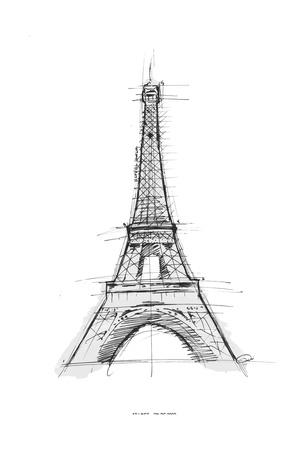 Eiffel Sketch Art by  OnRei