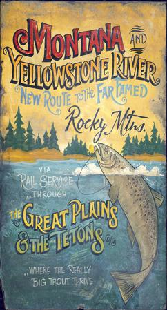 Montana Fishing Lodge Vintage Wood Sign