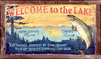 Welcome to the Lake Vintage Wood Sign