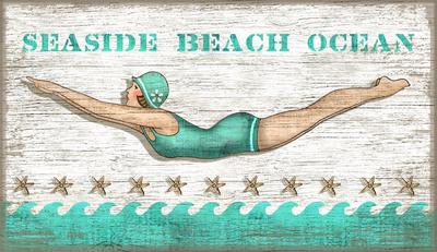 Diving Girl Vintage Wood Sign