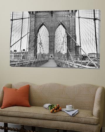 Pedestrian Walkway on the Brooklyn Bridge Prints by  Bettmann