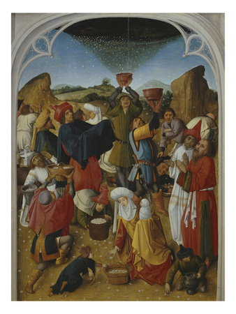 Gathering of the Manna, Oil on Wood, C. 1460-70 Premium Giclee Print by  Master of the Manna