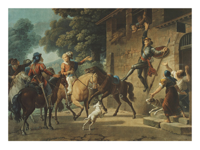 Don Quixote Standing on the Hindquarters of His Horse to Reach the Window of Dulcinea Premium Giclee Print by Jean-frederic Schall