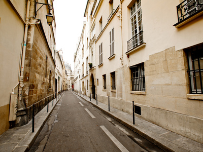 A Small Street Lined with Traditional Parisian Buildings Photographic Print by Jorge Fajl