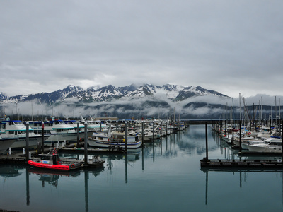 Boats in Marina with Snow Capped Mountains in the Background Photographic Print by Jorge Fajl
