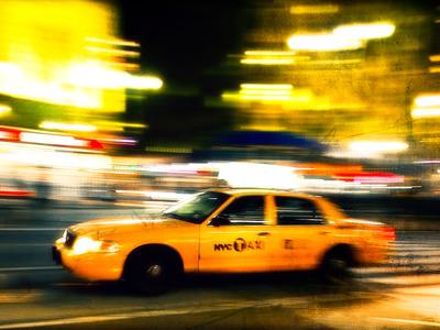 A NY Taxi Cab Rushes By Photographic Print by Jorge Fajl