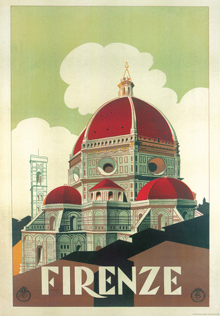Firenze Cupola (Florence Dome) Italian Vintage Style Travel Poster ポスター
