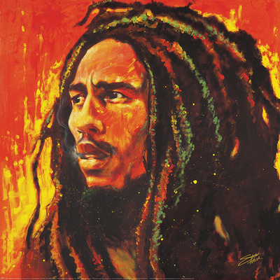 Bob Marley poster illustration artwork by Stephen Fishwick