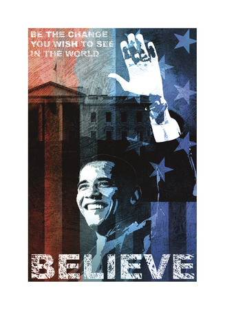 Obama: Believe Giclee Print by Keith Mallett