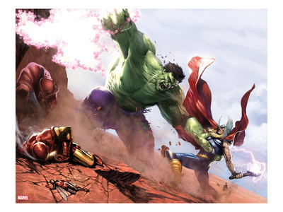 New Avengers Annual No. 1 cover Hulk and Thor fighting superhero comic book poster by Gabriele Dellotto