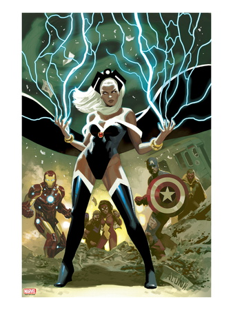 Avengers No. 21 Cover Storm, Captain America, Iron Man cover superhero comic book poster by Daniel Acuna