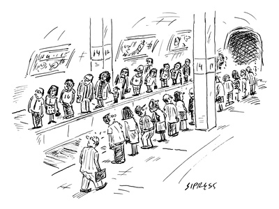 Two lines of people await the subway, which seems to be going both uptown … - New Yorker Cartoon Giclee Print by David Sipress