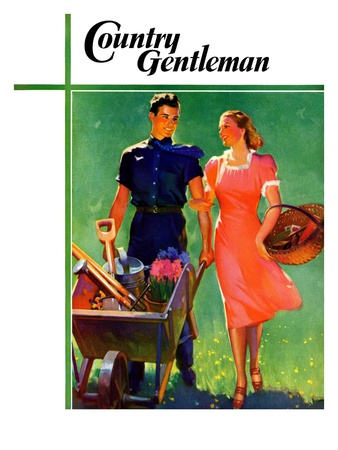 """""""Pushing Her Wheelbarrow,"""" Country Gentleman Cover, April 1, 1938 Giclee Print by F. Sands Brunner"""