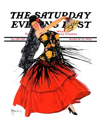 """Flamenco Dancer in Red,"" Saturday Evening Post Cover, March 14, 1936 Giclee Print by R.J. Cavaliere"