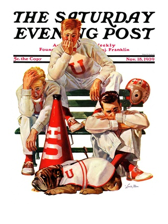 """""""Cheerleaders after Lost Game,"""" Saturday Evening Post Cover, November 18, 1939 Giclee Print by Lonie Bee"""