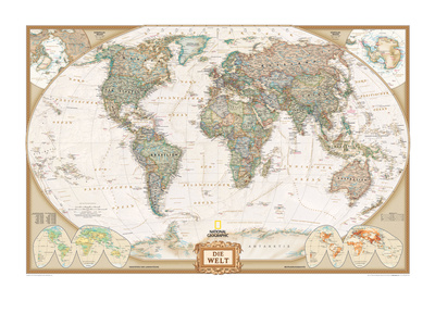 German Executive World Map Posters by  National Geographic Maps