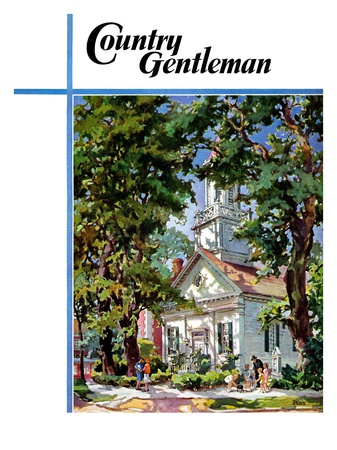 """Steepled Church,"" Country Gentleman Cover, April 1, 1939 Giclee Print by G. Kay"