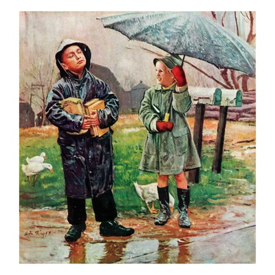 """""""Waiting for Bus in Rain,""""April 1, 1948 Giclee Print by Austin Briggs"""