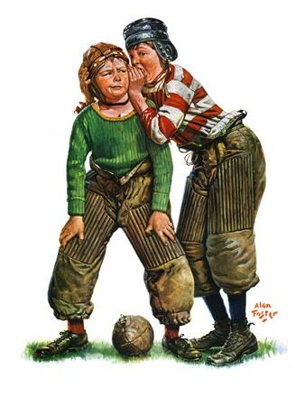 """Football Huddle,""November 12, 1927 Giclee Print by Alan Foster"