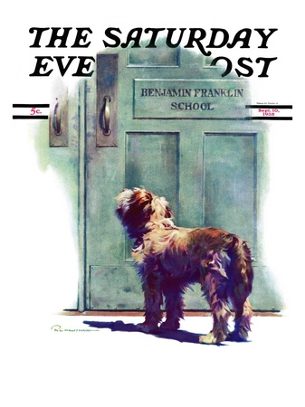 """""""Dog Waiting for Schoolboy,"""" Saturday Evening Post Cover, September 10, 1938 Giclee Print by Robert C. Kauffmann"""