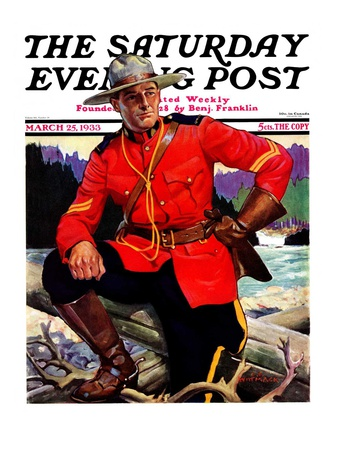"""Canadian Mountie,"" Saturday Evening Post Cover, March 25, 1933 Giclee Print by Edgar Franklin Wittmack"