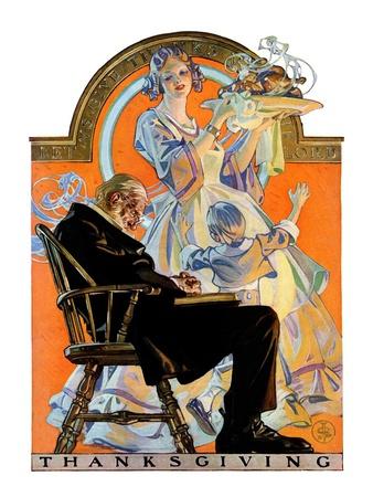 """Childhood Thanksgiving,""November 26, 1927 Giclee Print by Joseph Christian Leyendecker"