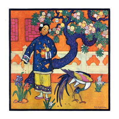 """Japanese Woman in Garden,""March 2, 1929 Giclee Print by Henry Soulen"