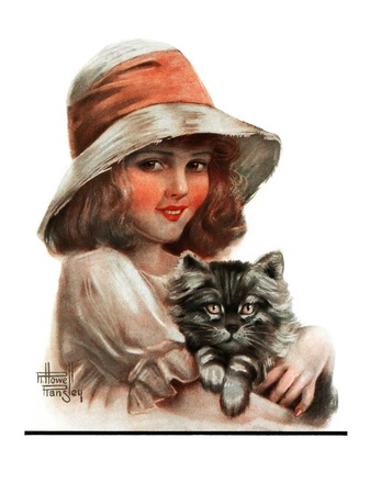 """""""Girl and Her Cat,""""May 10, 1924 Giclee Print by Robert H. Ransley"""