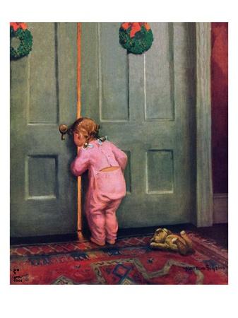 """""""Christmas Peek,""""December 22, 1934 Giclee Print by Mary Ellen Sigsbee"""