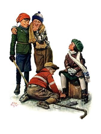 """Hockey Waits, Tying Skates,""December 17, 1927 Giclée-tryk af Alan Foster"