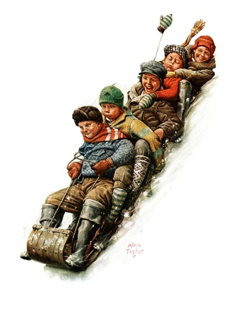 """""""Tobogganing,""""January 7, 1928 Giclee Print by Alan Foster"""