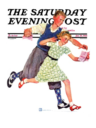"""""""Love Letter,"""" Saturday Evening Post Cover, January 26, 1935 Giclee Print by Douglas Crockwell"""