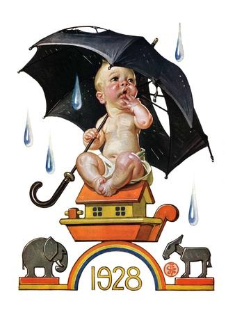 """Raining on Baby New Year,""December 31, 1927 Giclee Print by Joseph Christian Leyendecker"