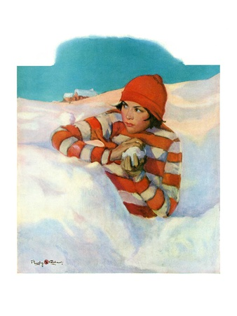 """""""Snowball Fight,""""February 18, 1928 Giclee Print by Penrhyn Stanlaws"""