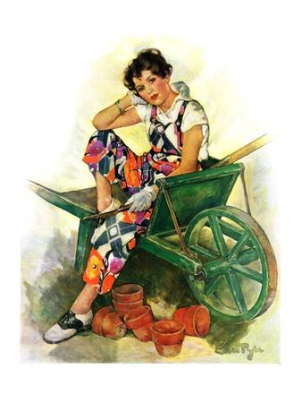 """""""Woman in Wheelbarrow,""""June 20, 1931 Giclee Print by Ellen Pyle"""