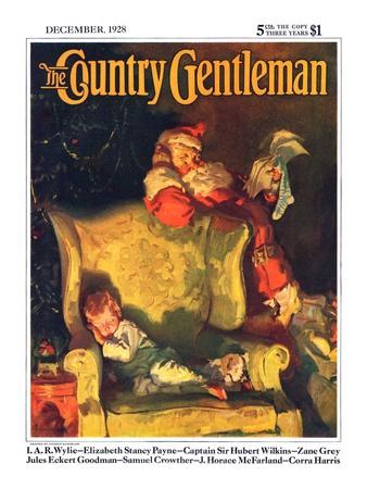 """Sleeping Through Santa's Visit,"" Country Gentleman Cover, December 1, 1928 Giclee Print by Haddon Sundblom"