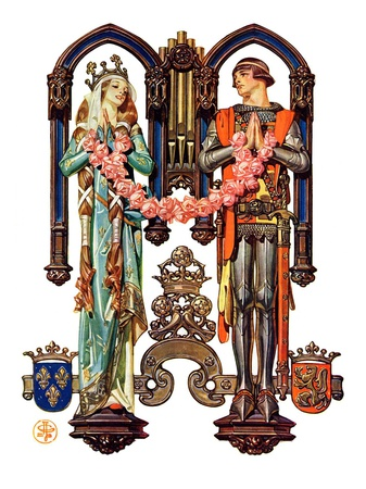 """Henry V and His French Bride,""July 26, 1930 Giclee Print by Joseph Christian Leyendecker"