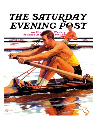 """""""Sculling Race,"""" Saturday Evening Post Cover, August 15, 1936 Giclee Print by Maurice Bower"""