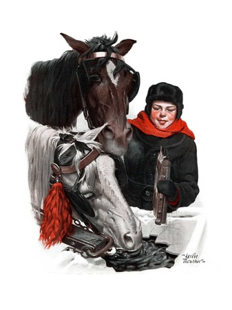 """""""Boy Watering Horses,""""January 12, 1924 Giclee Print by Leslie Thrasher"""