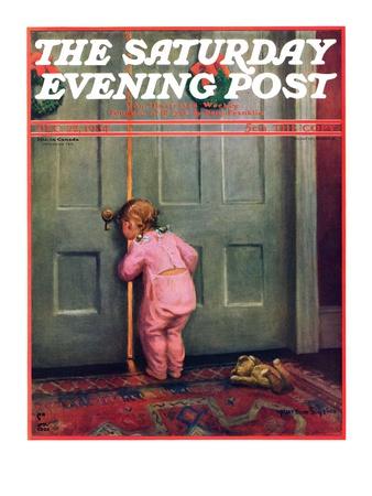 """""""Christmas Peek,"""" Saturday Evening Post Cover, December 22, 1934 Giclee Print by Mary Ellen Sigsbee"""