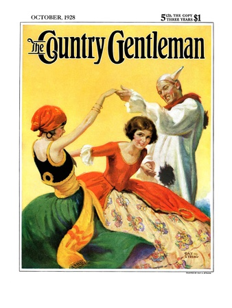 """Halloween Dance,"" Country Gentleman Cover, October 1, 1928 Giclee Print by Ray C. Strang"