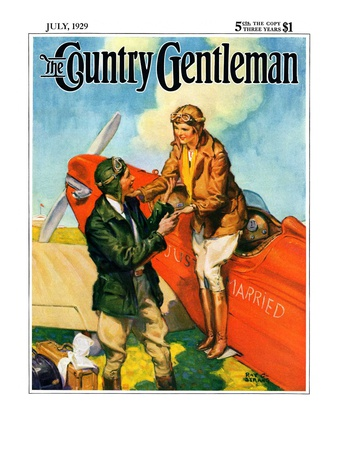 """Just Married, Just Landed,"" Country Gentleman Cover, July 1, 1929 Giclee Print by Ray C. Strang"