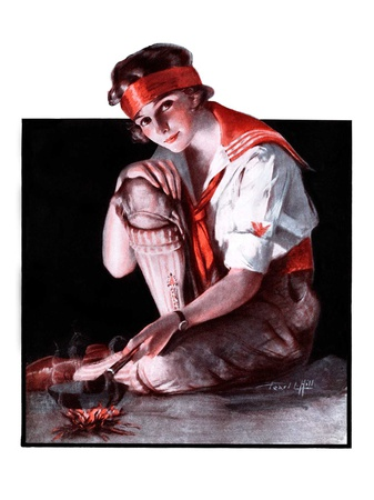 """""""Campfire Girl,""""July 26, 1924 Giclee Print by Pearl L. Hill"""