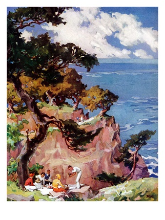"""Oceanside Picnic,""February 1, 1939 Giclee Print by G. Kay"