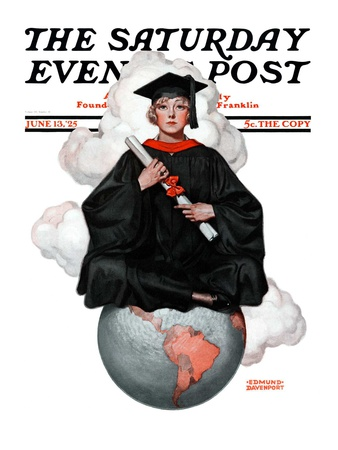 """""""Graduate on Top of the World,"""" Saturday Evening Post Cover, June 13, 1925 Giclee Print by Edmund Davenport"""