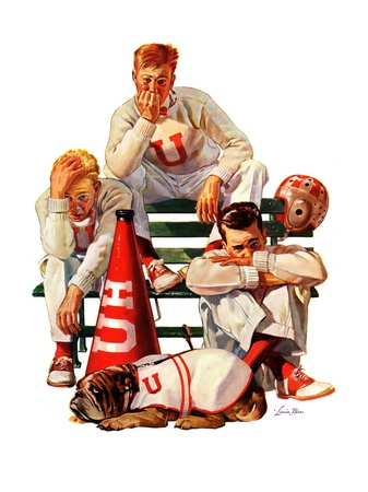 """""""Cheerleaders after Lost Game,""""November 18, 1939 Giclee Print by Lonie Bee"""