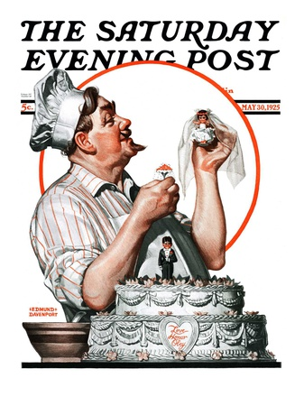 """""""Wedding Cake,"""" Saturday Evening Post Cover, May 30, 1925 Giclee Print by Edmund Davenport"""