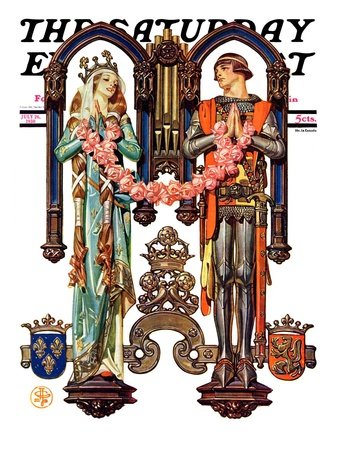 """Henry V and His French Bride,"" Saturday Evening Post Cover, July 26, 1930 Giclee Print by Joseph Christian Leyendecker"