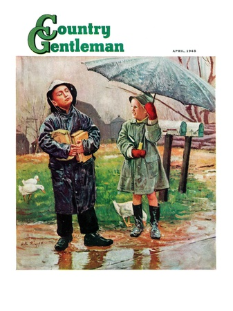 """""""Waiting for Bus in Rain,"""" Country Gentleman Cover, April 1, 1948 Giclee Print by Austin Briggs"""